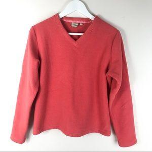 L.L. Bean Red Orange Fleece V-Neck Top Size Medium